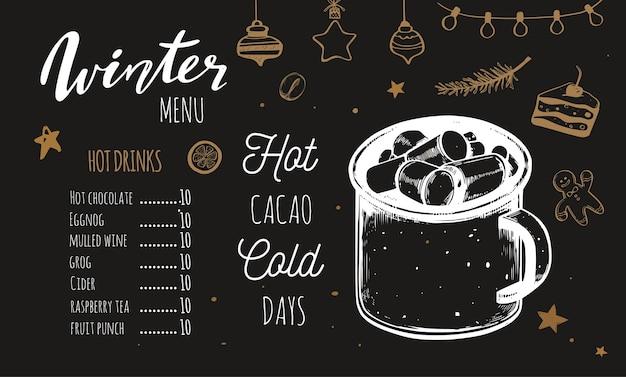 Menu de bebidas quentes de inverno, modelo com ilustrações diferentes