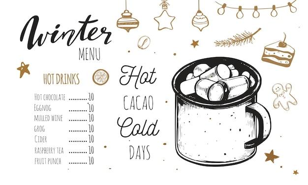 Menu de bebidas quentes de inverno, modelo com ilustrações