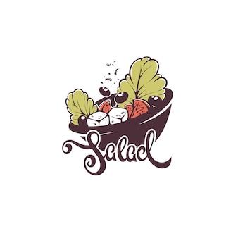Menu de bufê de saladas, logotipo, emblema e símbolo, composição de letras com imagem de folhas verdes, tomates, queijo e azeitonas