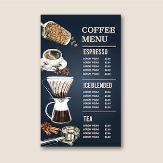 Menu de café casa americano, cappuccino, menu de café expresso, infográfico, ilustração de aquarela