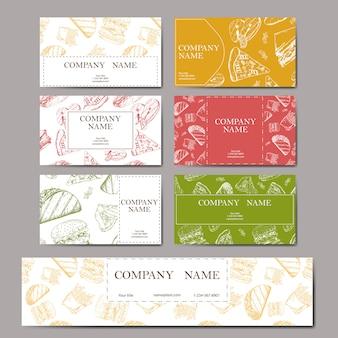 Menu de café com design de mão desenhada. modelo de menu de restaurante de fast-food. conjunto de cartões para identidade corporativa.