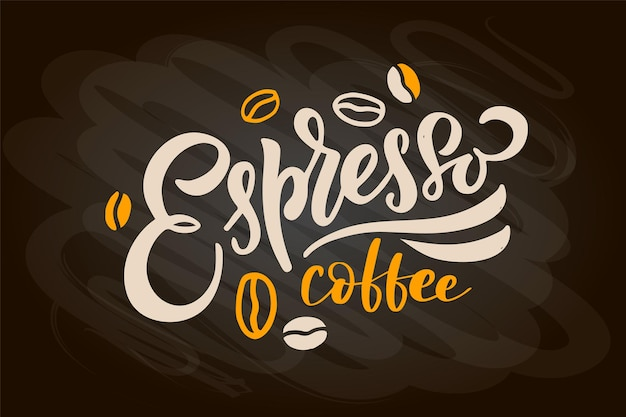 Menu de café com letras de café para viagem xícara de caligrafia moderna café cappuccino expresso macchiato