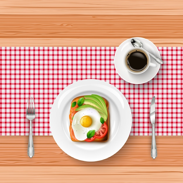 Menu de café da manhã com ovo frito realista
