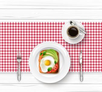 Menu de café da manhã com ovo frito