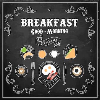 Menu de café da manhã de lousa.