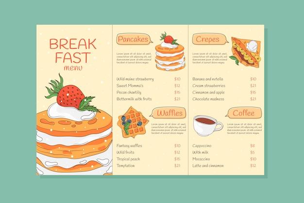 Menu de café da manhã desenhado à mão