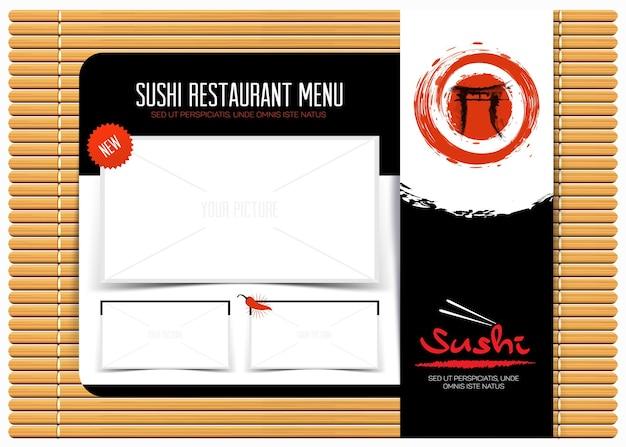Menu de café de restaurante em design de modelo de esteira de bambu fundo de menu japonês