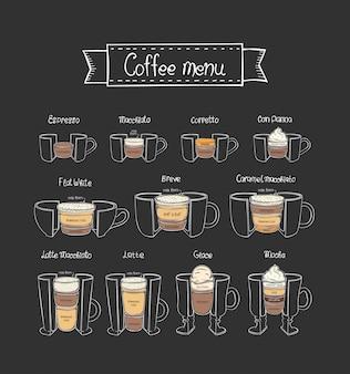 Menu de café. diferentes tipos de bebidas quentes.