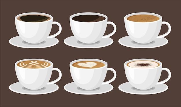 Menu de café quente em xícaras brancas isoladas em marrom