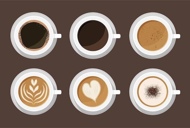 Menu de café quente em xícaras brancas. vista do topo. latte, cappuccino, americano, expresso, mocha, cacau.