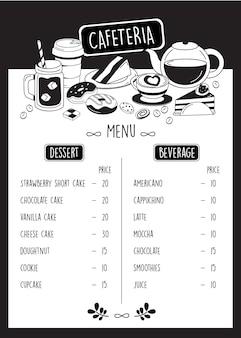 Menu de cafeteria, menu de café doodle com sobremesa e bebida.