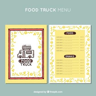 Menu de caminhão de comida adorável com moldura floral