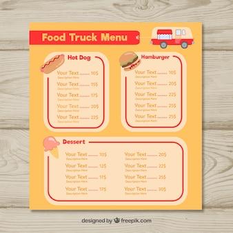 Menu de caminhão de comida clássica