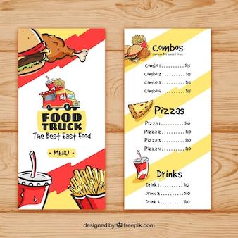 Menu de caminhão de comida com fast food