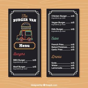 Menu de caminhão de comida com hambúrgueres