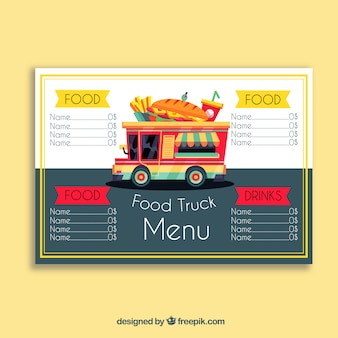 Menu de caminhão de comida com sanduiche