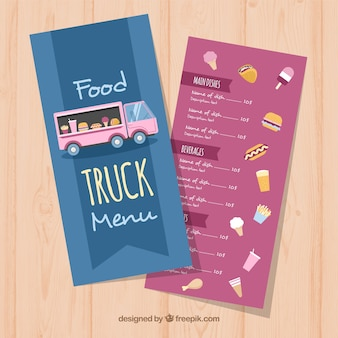 Menu de caminhão de comida com variedade de comida