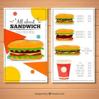 Menu de caminhão de comida com variedade de sanduiches