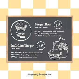 Menu de caminhão de comida de hambúrguer no quadro-negro