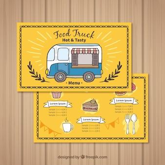Menu de caminhão de comida desenhado à mão com café e bolo