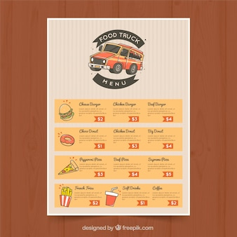 Menu de caminhão de comida desenhado à mão com estilo clássico