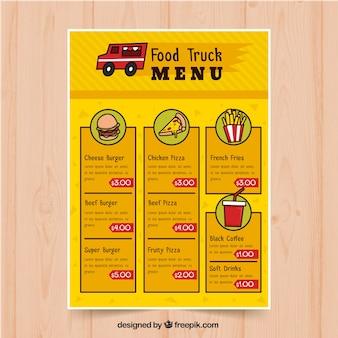 Menu de caminhão de comida desenhado à mão com estilo moderno