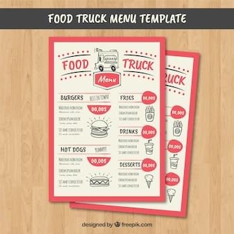 Menu de caminhão de comida divertida com estilo moderno