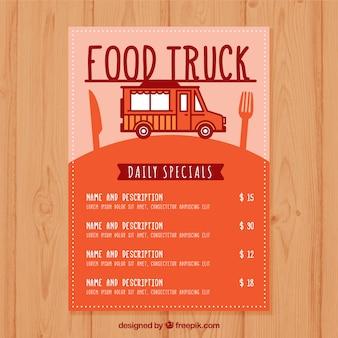 Menu de caminhão de comida moderna com design plano