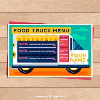 Menu de caminhão de comida na van Vetor grátis
