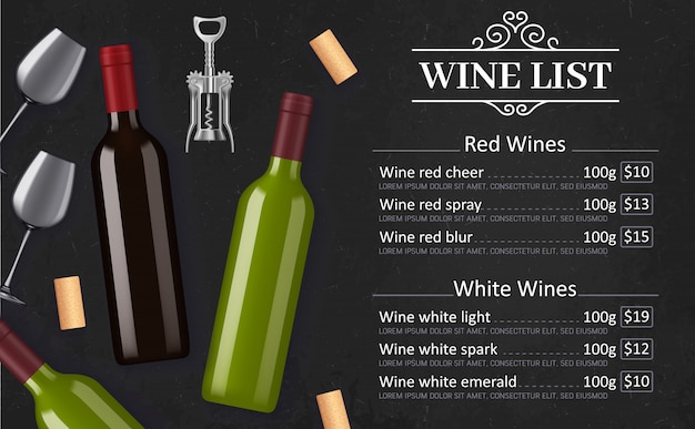 Menu de carta de vinhos com bebidas alcoólicas