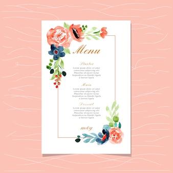Menu de casamento com moldura de aquarela floral azul pêssego