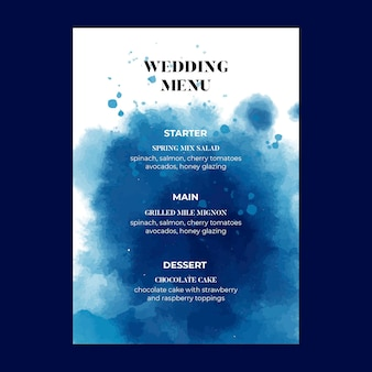Menu de casamento de estilo minimalista