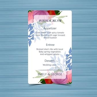 Menu de casamento floral com lindas flores