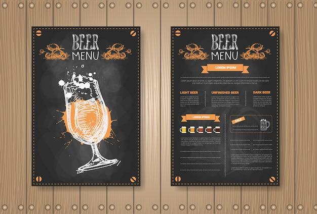 Menu de cerveja cenografia para restaurante cafe pub riscado