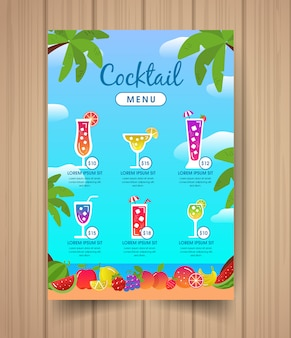 Menu de cocktails com frutas coloridas.