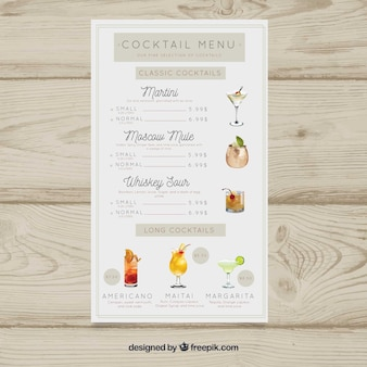 Menu de cocktails com lista de bar