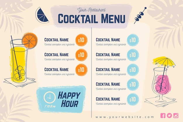 Menu de cocktails com óculos e guarda-chuvas