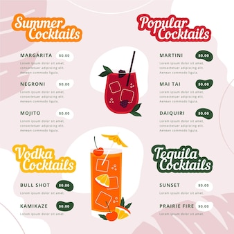 Menu de cocktails moderno com ilustrações