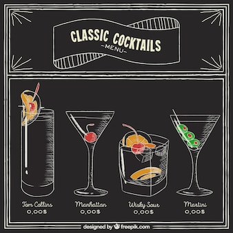 Menu de cocktails no estilo de quadro-negro