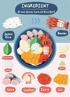 Menu de comida com desenho de salmão