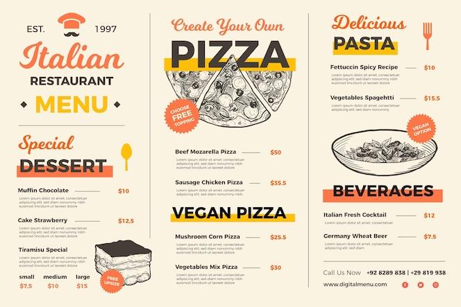 Menu de comida criativa para uso digital ilustrado