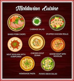 Menu de comida da cozinha da moldávia, pratos, pôster de refeições