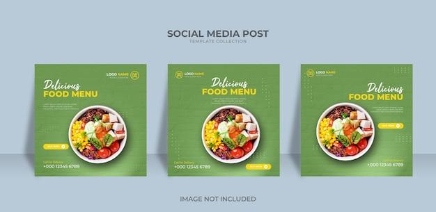 Menu de comida de design de banner de mídia social