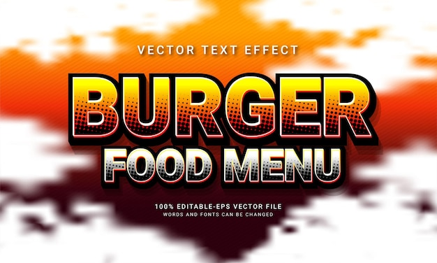 Menu de comida de hambúrguer, texto editável, efeito de estilo menu de comida de restaurante temático