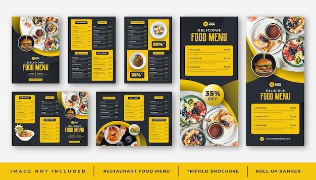 Menu de comida de restaurante café, modelo de folheto com três dobras, conjunto de banner de enrolar