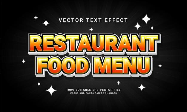 Menu de comida de restaurante, estilo de texto editável, efeito de conceito de restaurante com tema