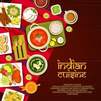 Menu de comida de restaurante indiano