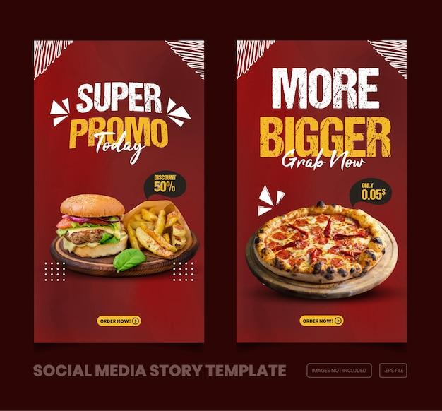 Menu de comida e deliciosa história do instagram e do facebook e modelo de banner