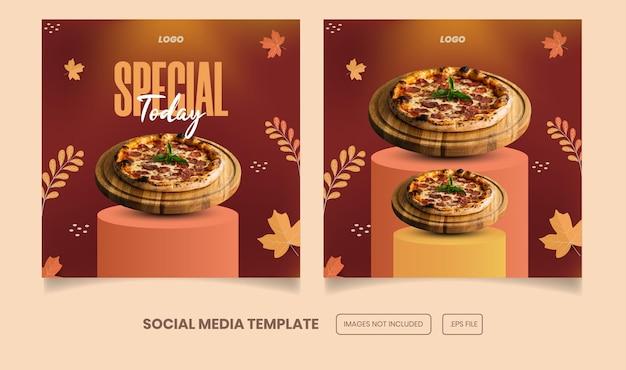 Menu de comida e deliciosa postagem no instagram e no facebook e modelo de banner