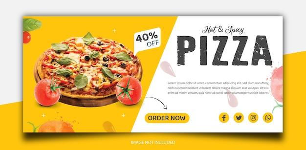 Menu de comida e deliciosa promoção de pizza capa de mídia social ou modelo de banner